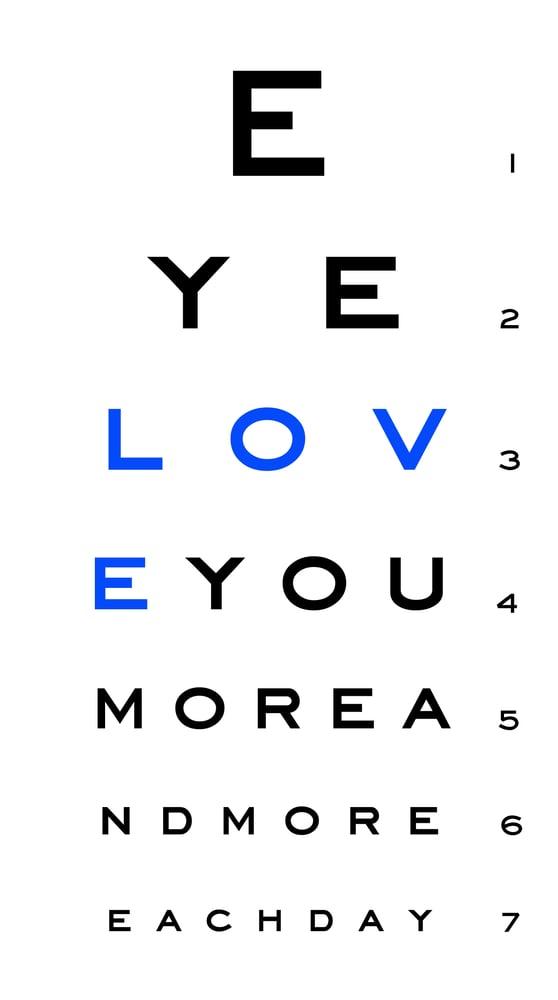 Image of eye 'love you' chart