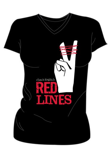 Image of Red Lines -T Shirt (Women's V Neck)