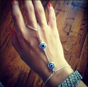 Image of Evil Eye Silver Hand Chain