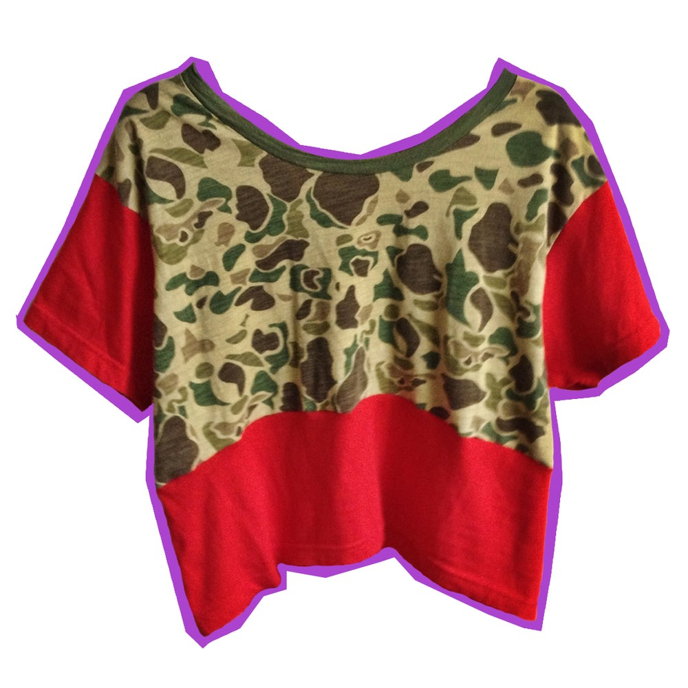 Image of Red And Camo Crop Tee