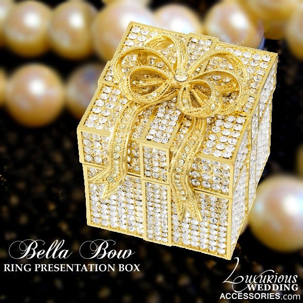 Image of Bliss Bella Bow Gold & Crystal Ring Box