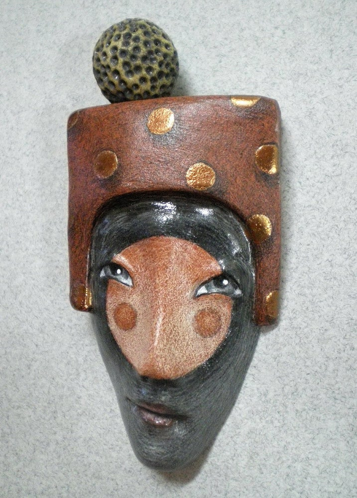 Image of Spot On - Mask Sculpture, Ceramic Mask Pendant, Art to Wear