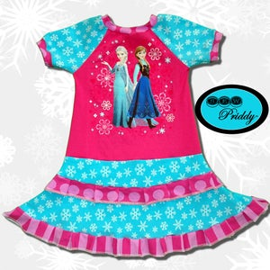 Image of **SOLD OUT**Frozen Sisters Elsa and Anna double ruffle dress - size 5/6
