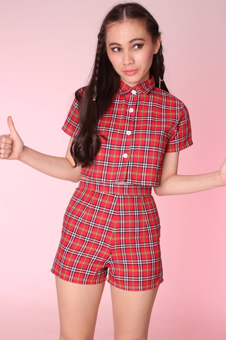 Image of Made To Order - Katie Red Tartan Top & Shorts Set