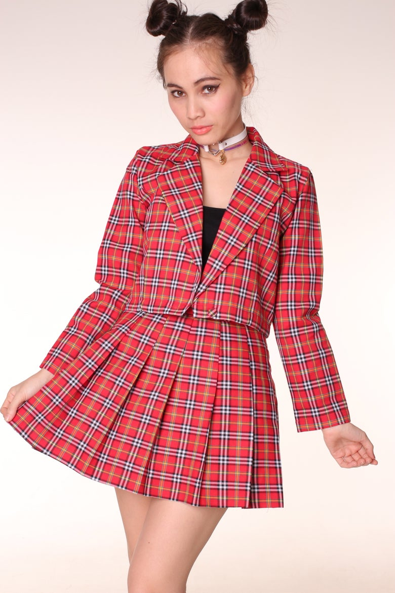 Image of  As If Blazer and Pleated Skirt set in Red Tartan