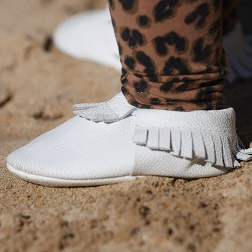 Image of Ice White Baby Moccasins
