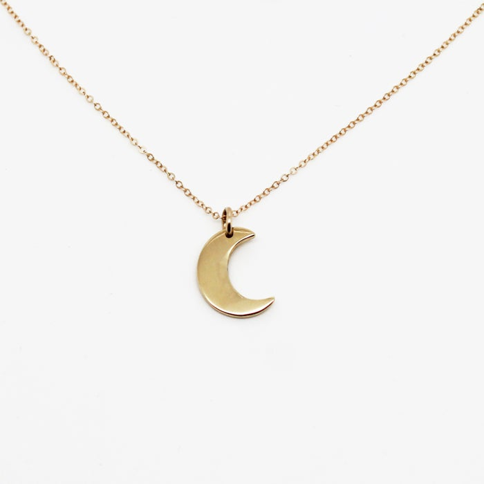 Image of Little Moon 9K Gold Pendant Necklace
