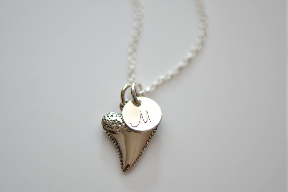 Image of Sterling Silver Sharks Tooth Necklace, Initial Charm Necklace,