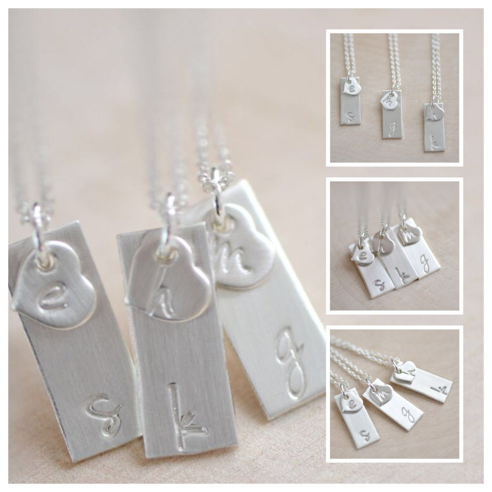Image of Dainty Sterling Silver Initial Bar Necklace - Itty Bitty Heart Initial Charm