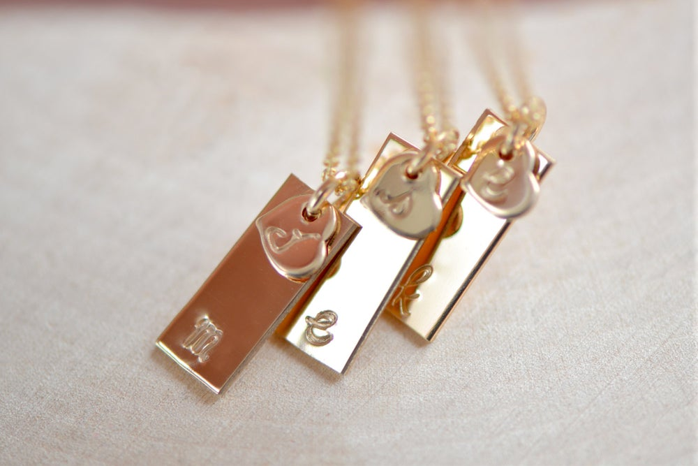 Image of Dainty Gold Tag Necklace with Itty Bitty Heart Charm