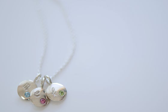 Image of Dainty Sterling Silver Initial Birthstone Charm Necklace - Birthstone Necklace