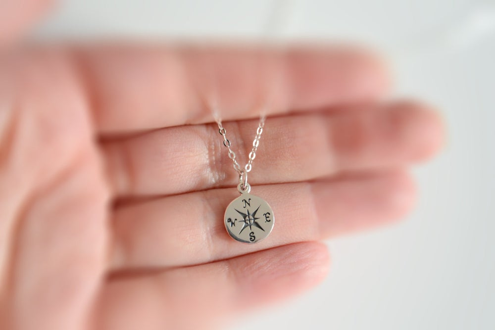 Image of Stering Silver Compass Necklace, Travelers Necklace, Best Friend Gift, Silver Compass,