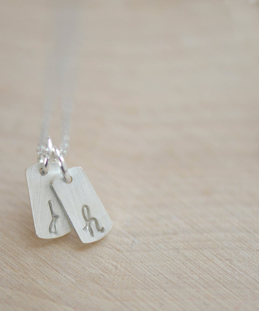 Image of Tiny Tiny Sterling Silver Initial Tag Necklace, Personalize Initial Necklace,