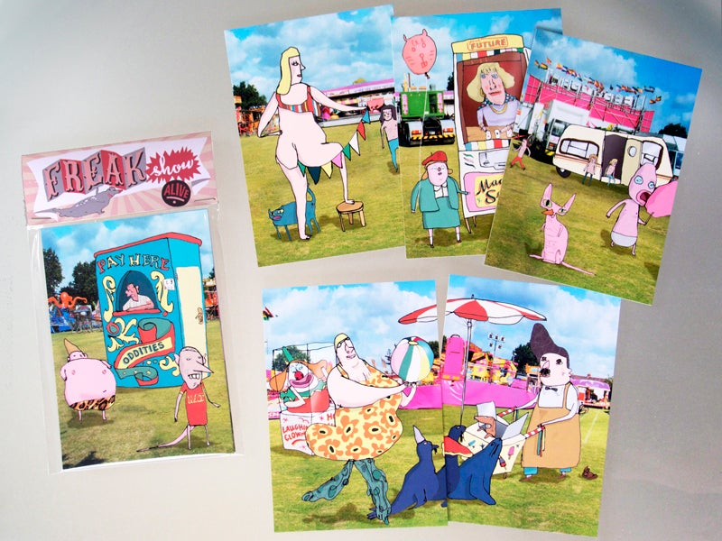 Image of 'Freak show' post card set