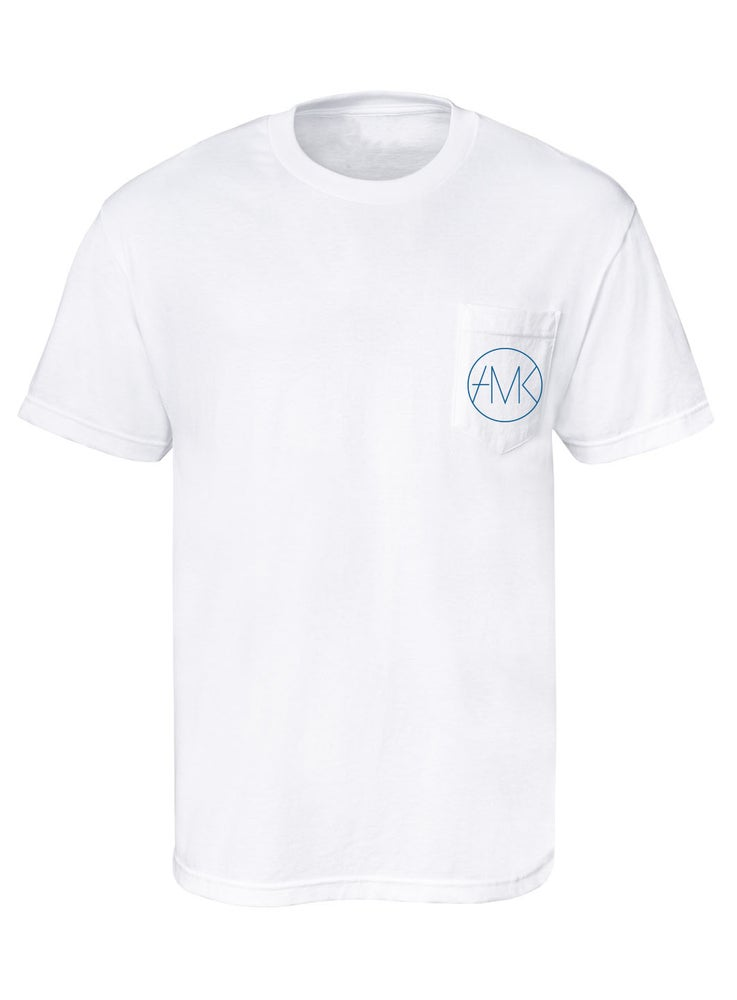 Image of ON SIGHT POCKET TEE / WHITE & TEAL