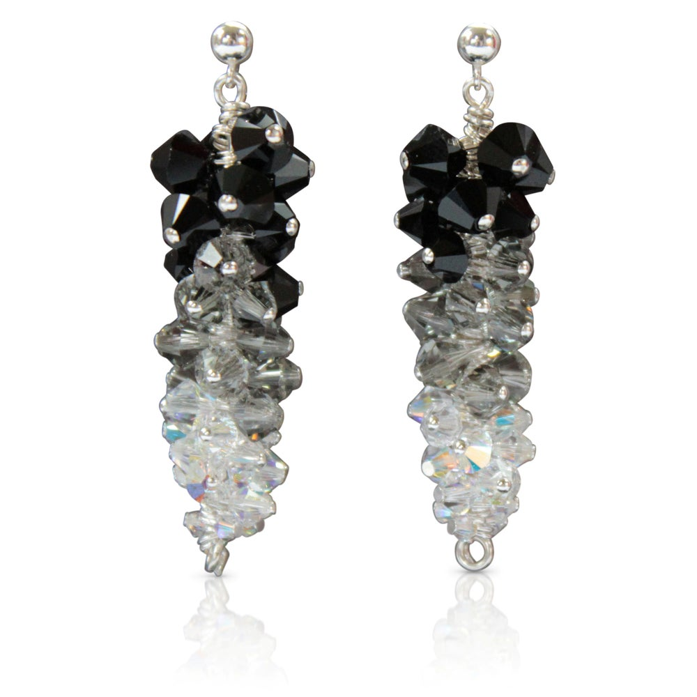 8f09fd750 Earrings Sterling Silver Swarovski Crystal Drop Arlizi 1594. Image Of  Ostentatious Black Swarovski Earrings. Ostentatious Black Swarovski Earrings  Rebecca ...