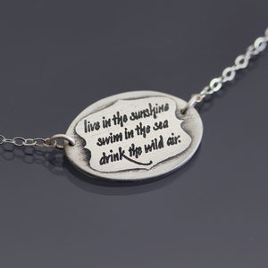 Image of Silver Live in the Sunshine Emerson Quote Necklace