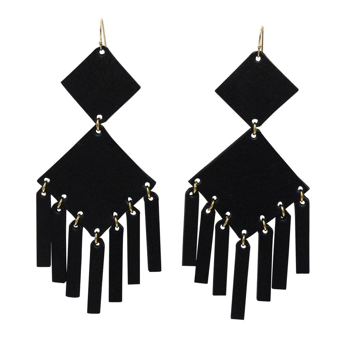 Image of Square Earrings Black Matte Gold