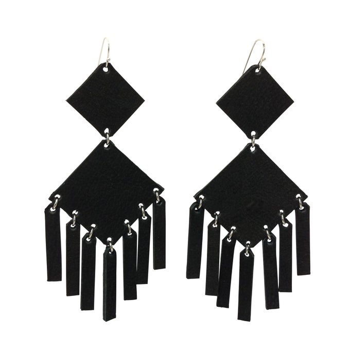 Image of Square Earrings Black Matte Silver