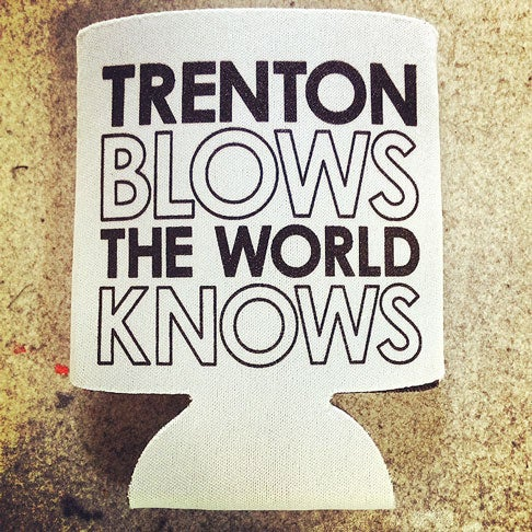 Image of Trenton Blows The World Know beer koozie
