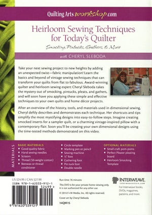 Image of Heirloom Sewing Techniques for Today's Quilter DVD by Cheryl Sleboda