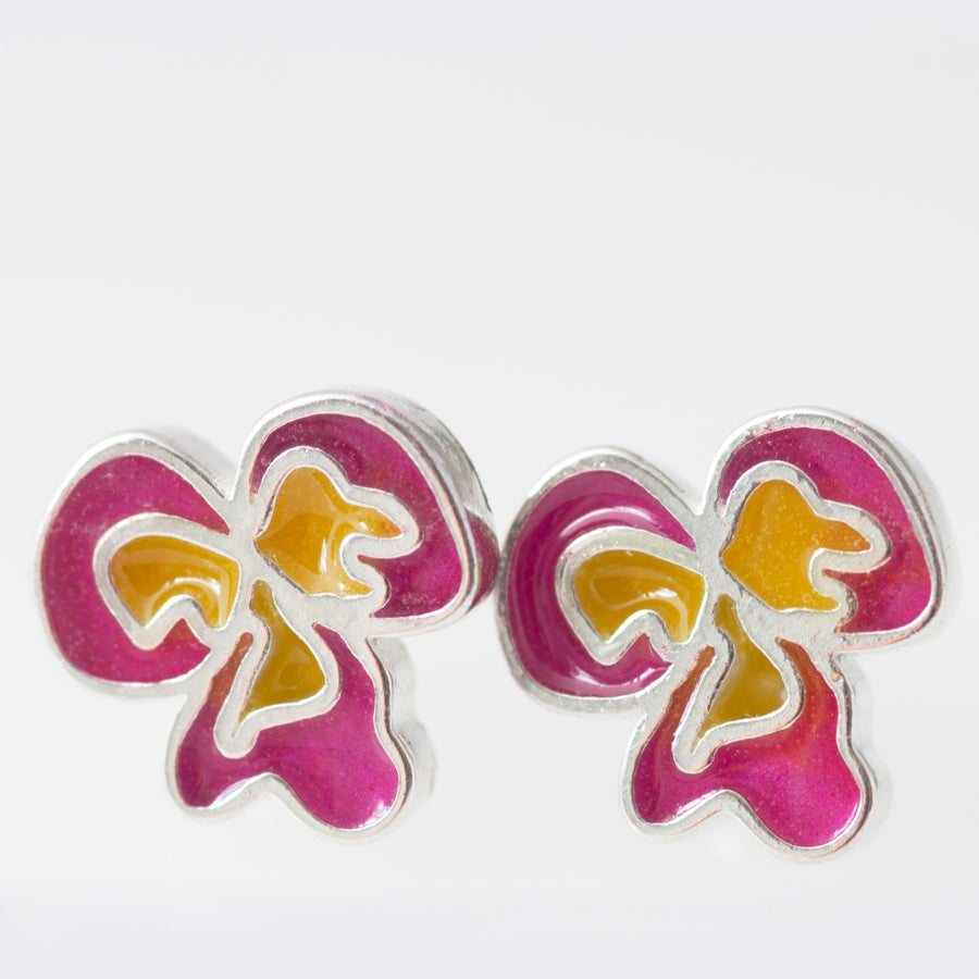 Image of Resinate Flor Studs Earrings- Pink,Yellow