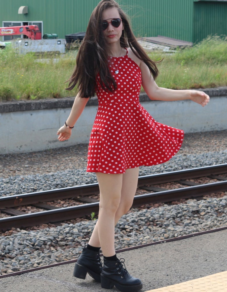 Image of Made To Order - Betty Red Polka Dot Halter Dress