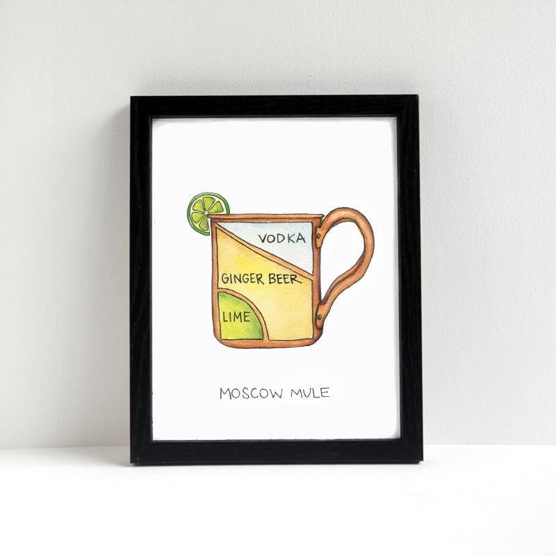 photo about Moscow Mule Recipe Printable titled Moscow Mule Cocktail Diagram Print Drywell Artwork