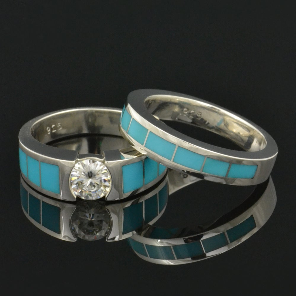 Next Prev Image Of Turquoise Wedding Ring And Moissanite Engagement Set
