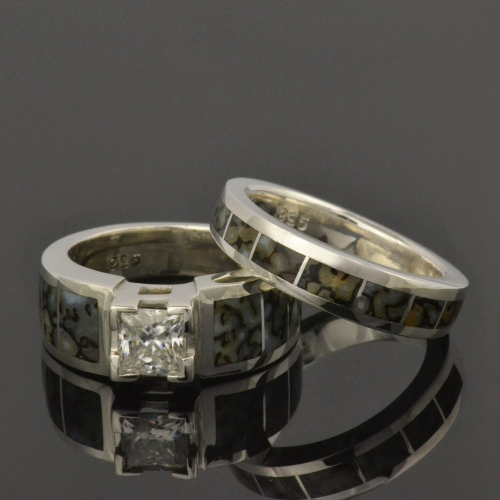 Image of Dinosaur Bone Wedding Ring and White Sapphire Engagement Ring