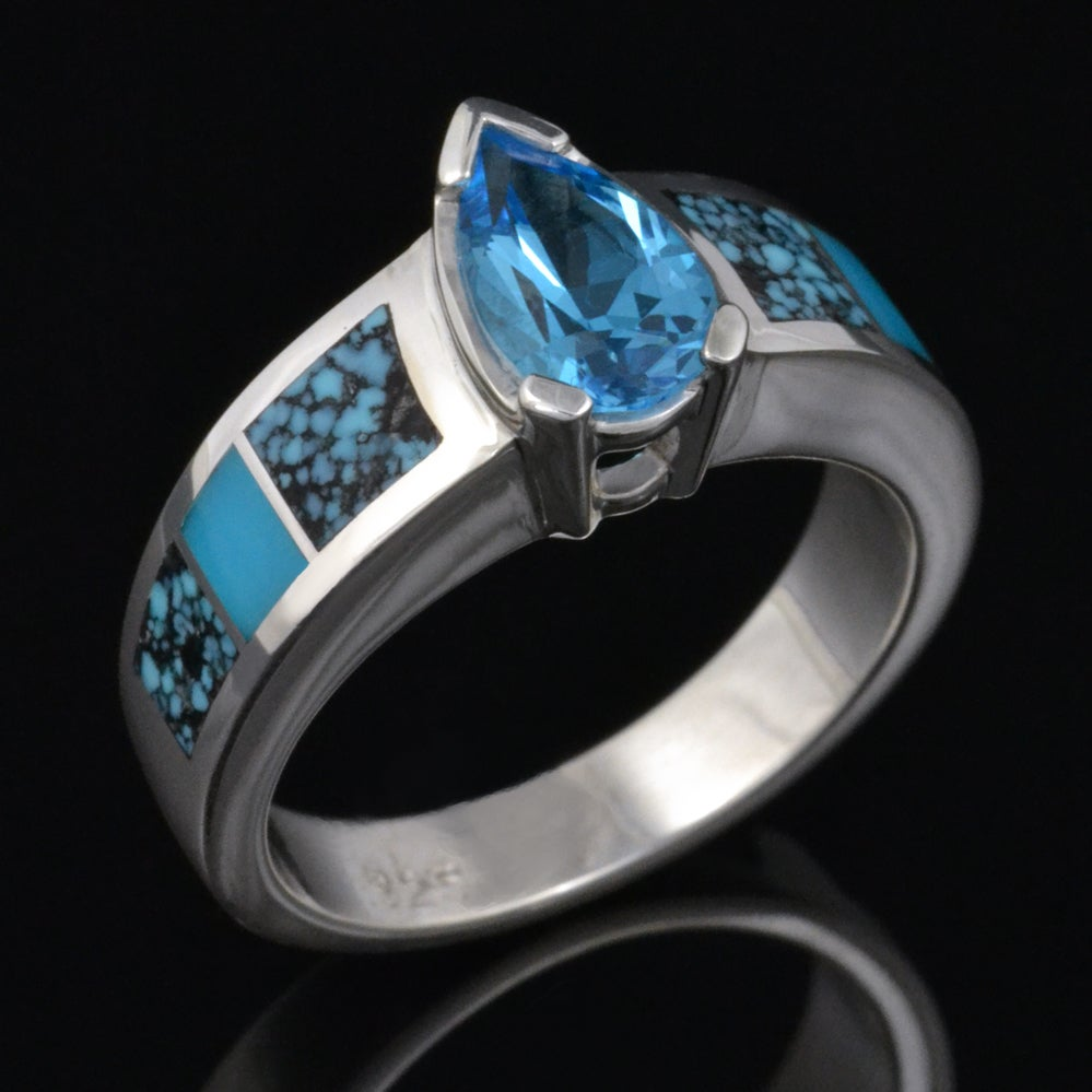 Image of Spiderweb Turquoise and Blue Topaz Ring