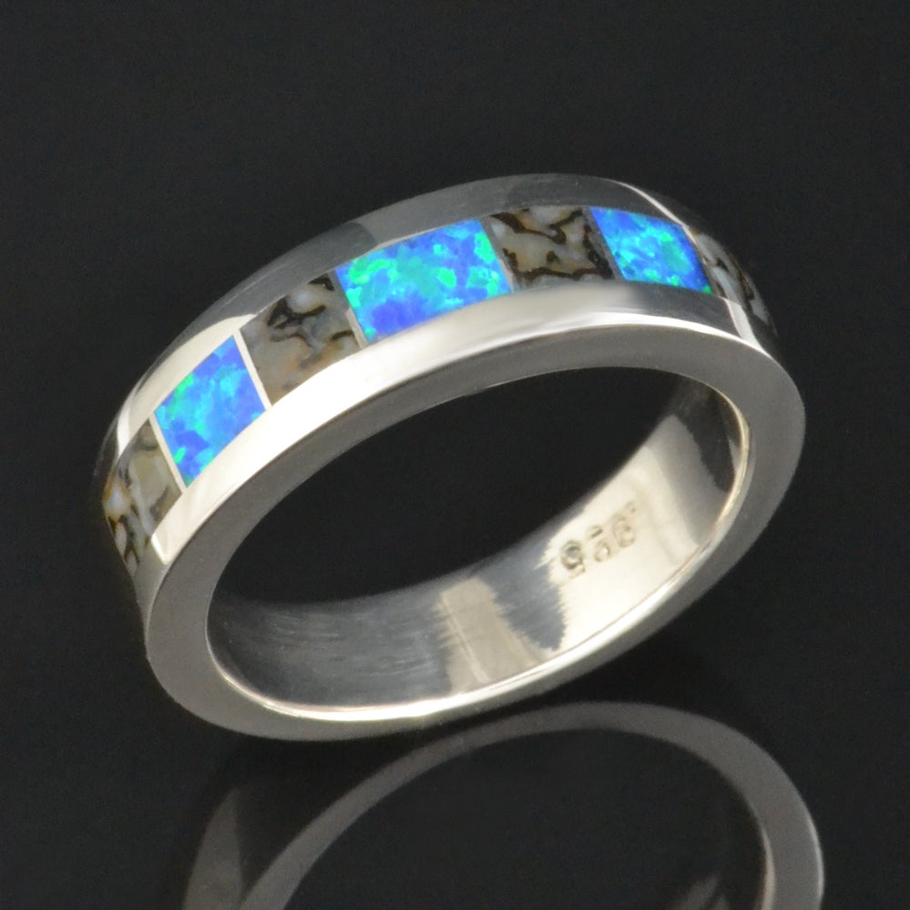 Image of Gray Dinosaur Bone and Lab Created Opal Ring