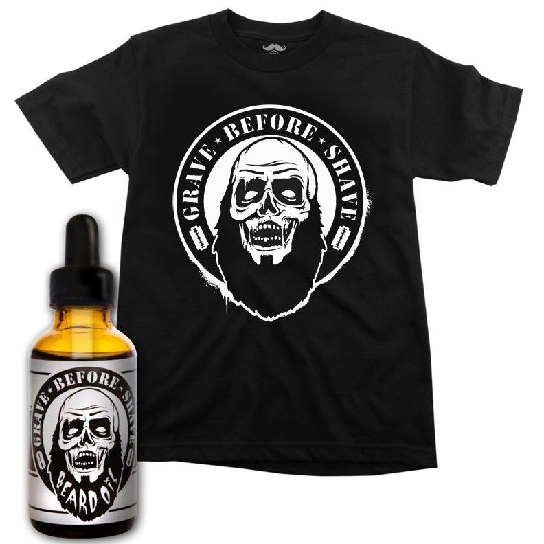 Image of GRAVE BEFORE SHAVE™ Zombie Tee/ Beard Oil combo