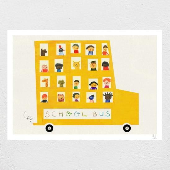 Image of School Bus Print