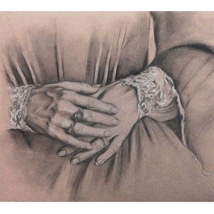 Image of Original Sketch - Hands with Lace - Drawing on toned paper