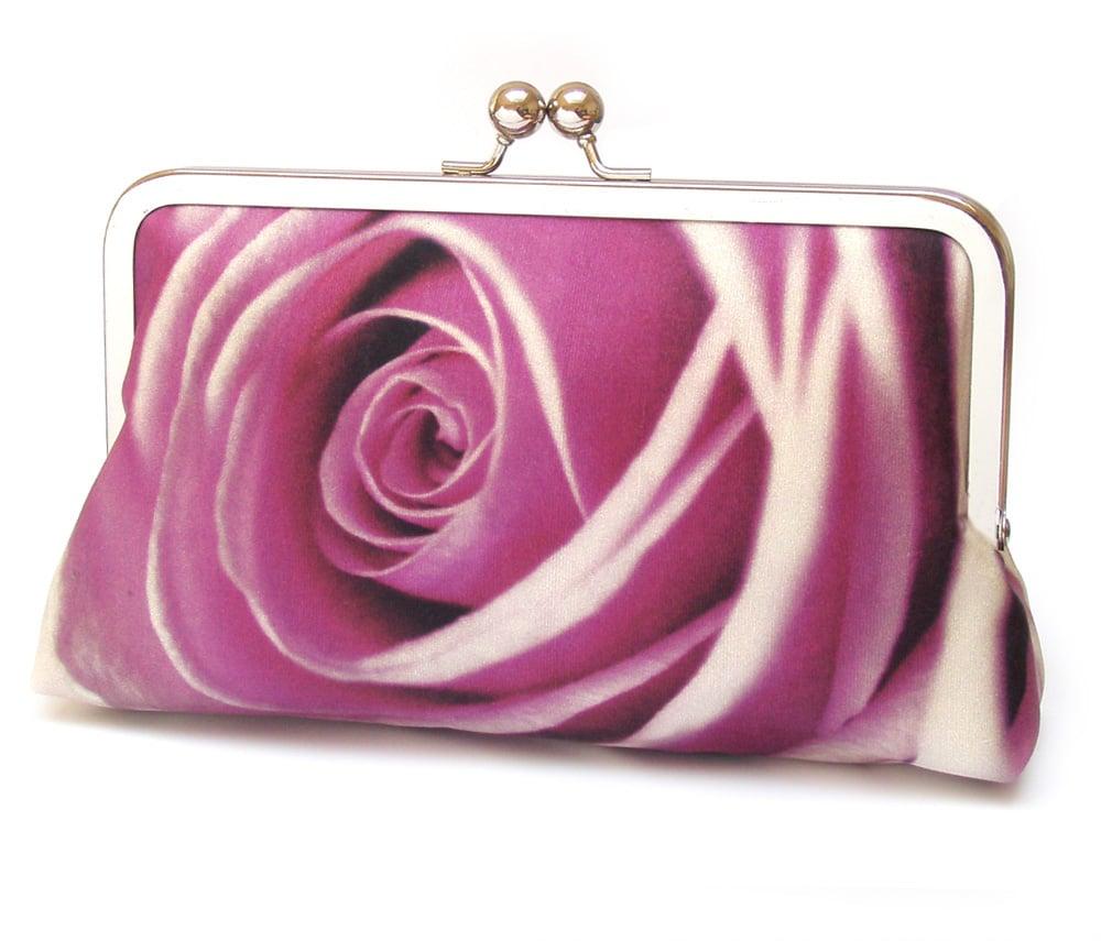 Image of Pink rose petals clutch bag, silk wedding purse, rosa