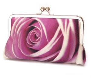 Pink rose petals clutch bag, silk wedding purse, rosa - Red Ruby Rose