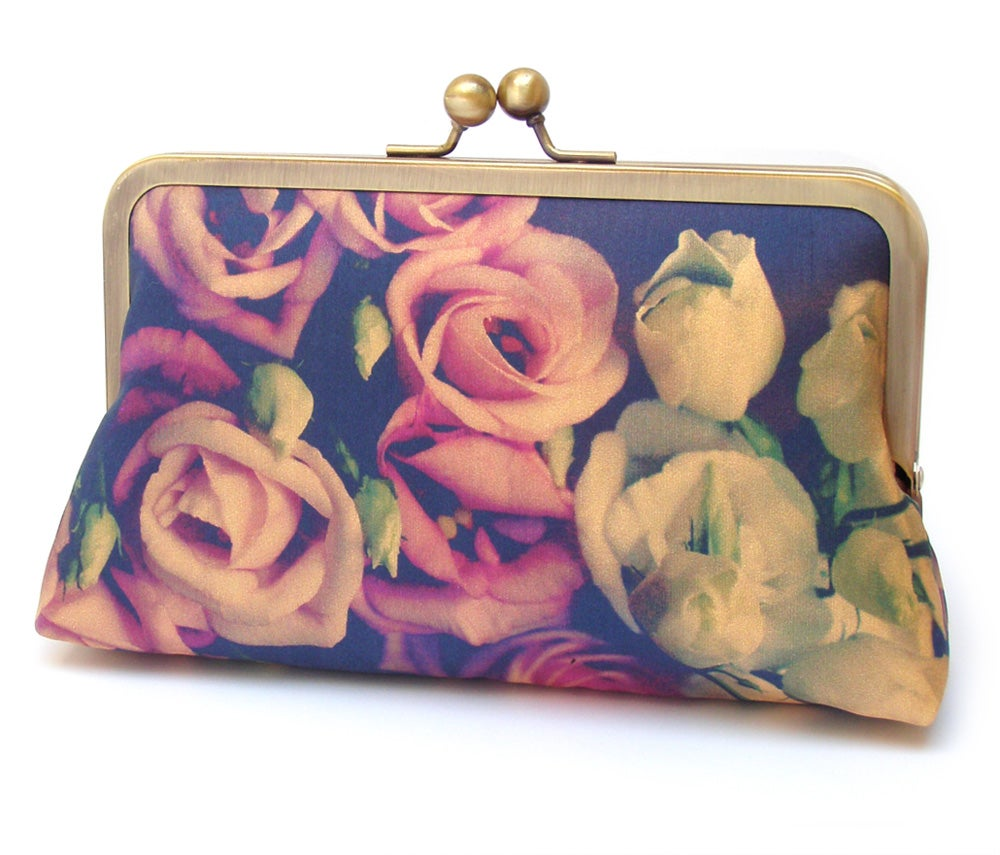Image of Pink rose clutch bag
