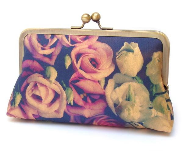 Image of Lisianthus bouquet clutch bag, silk purse, flower wedding handbag