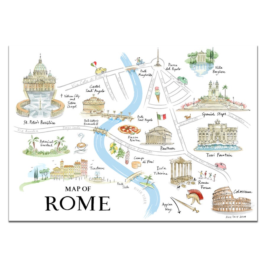 photograph about Printable Maps of Rome identify Alice Tait Map of Rome Print - Alice Tait Keep
