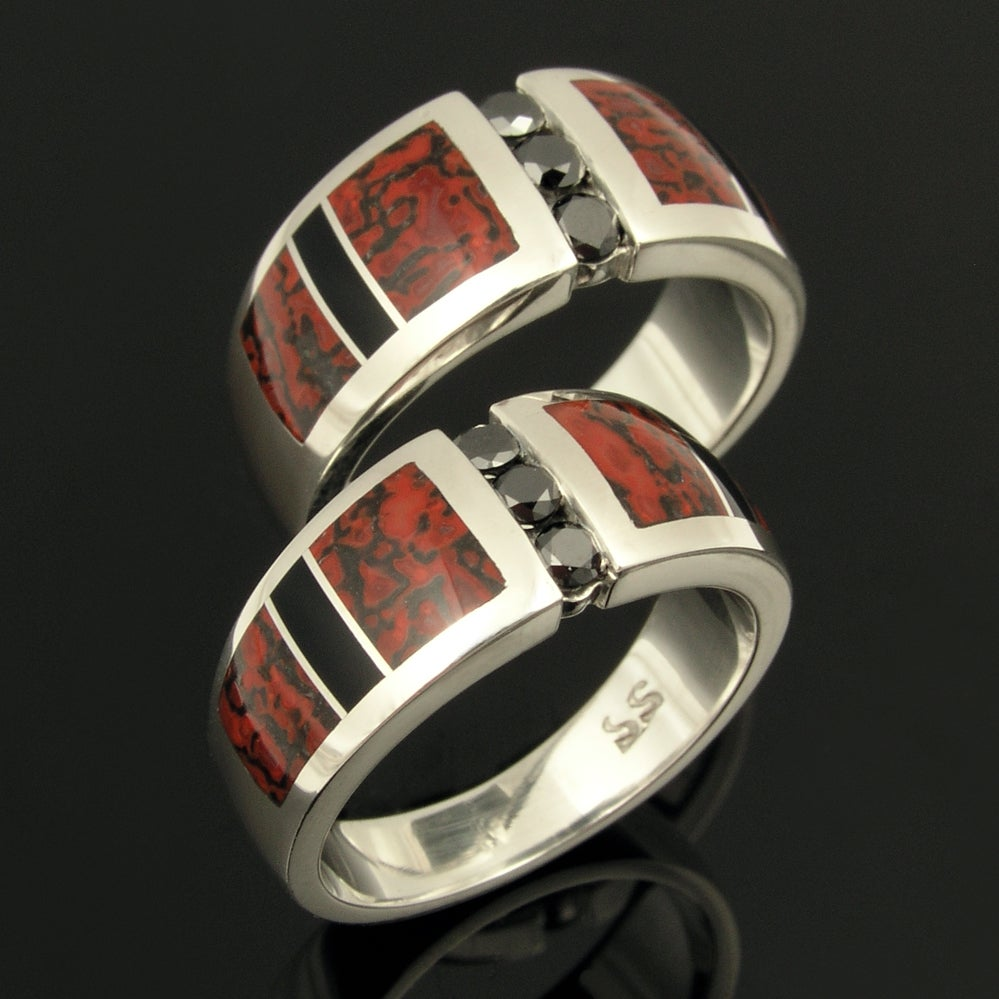 Image of His and Hers Dinosaur Bone Wedding Ring Set