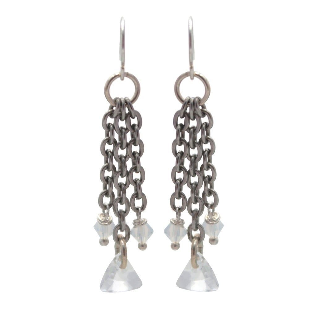 Image of Geometric Fringe Earrings - Bridal Veil Combo