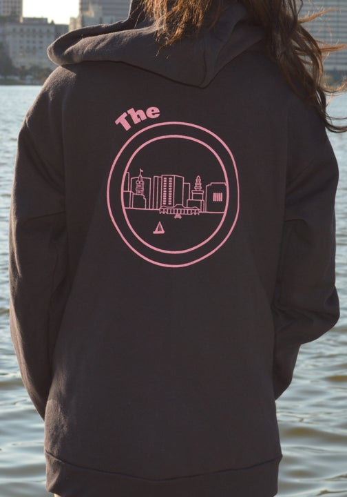 Image of Black and pink Zipper Hoodie
