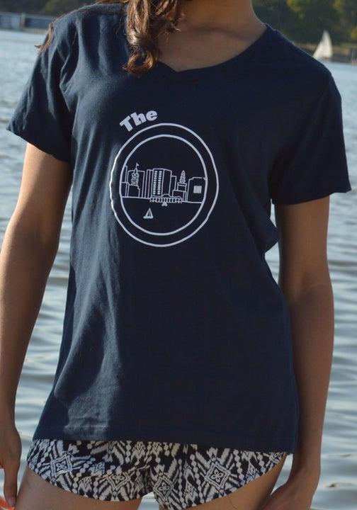 Image of Navy Blue V Neck Women