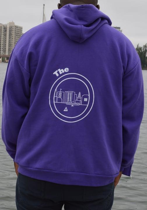 Image of Purple & White Zipper Hoodie