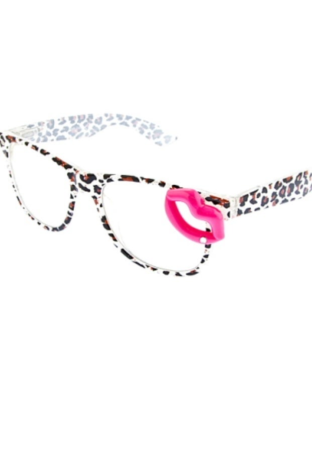 Image of Leopard print white frame lips sunglasses