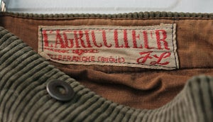 Image of 1910'S FRENCH BROWN CORDUROY PANTS FADED & PATCHED