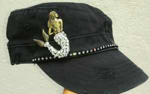 Image of Cadet Hat (plain, no words) Brass Crystal Mermaid