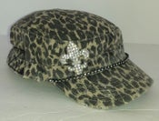 Image of Brown Leopard Cadet (Plain,no words) Fleur de Lis