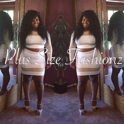 White/Nude Sheer Skirt Set - Plus Size Fashionz